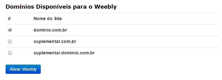 Ativar Criador de Sites Weebly Domínio cPanel