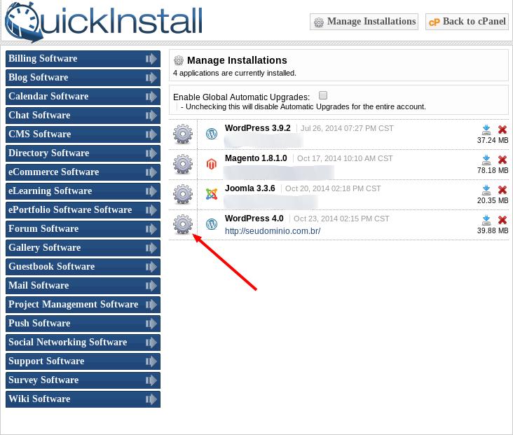 QuickInstall Admin cPanel HostGator