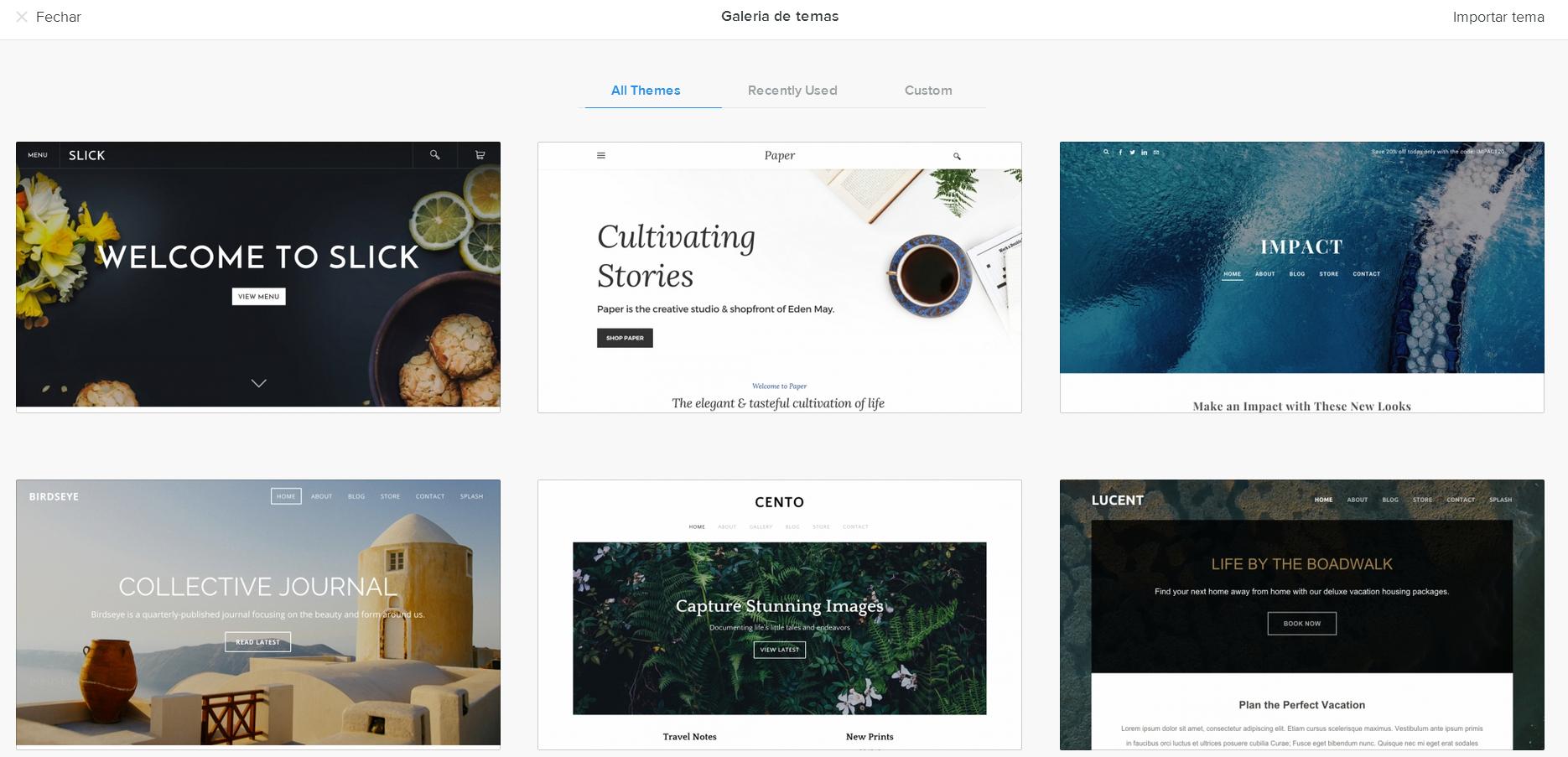Escolher Tema Criador de Sites Weebly