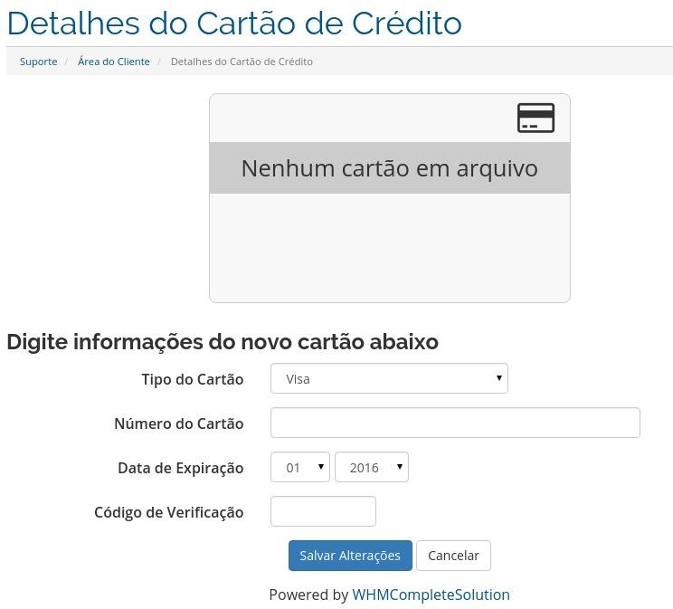 Detalhes do Cartão de Crédito - HostGator Brasil