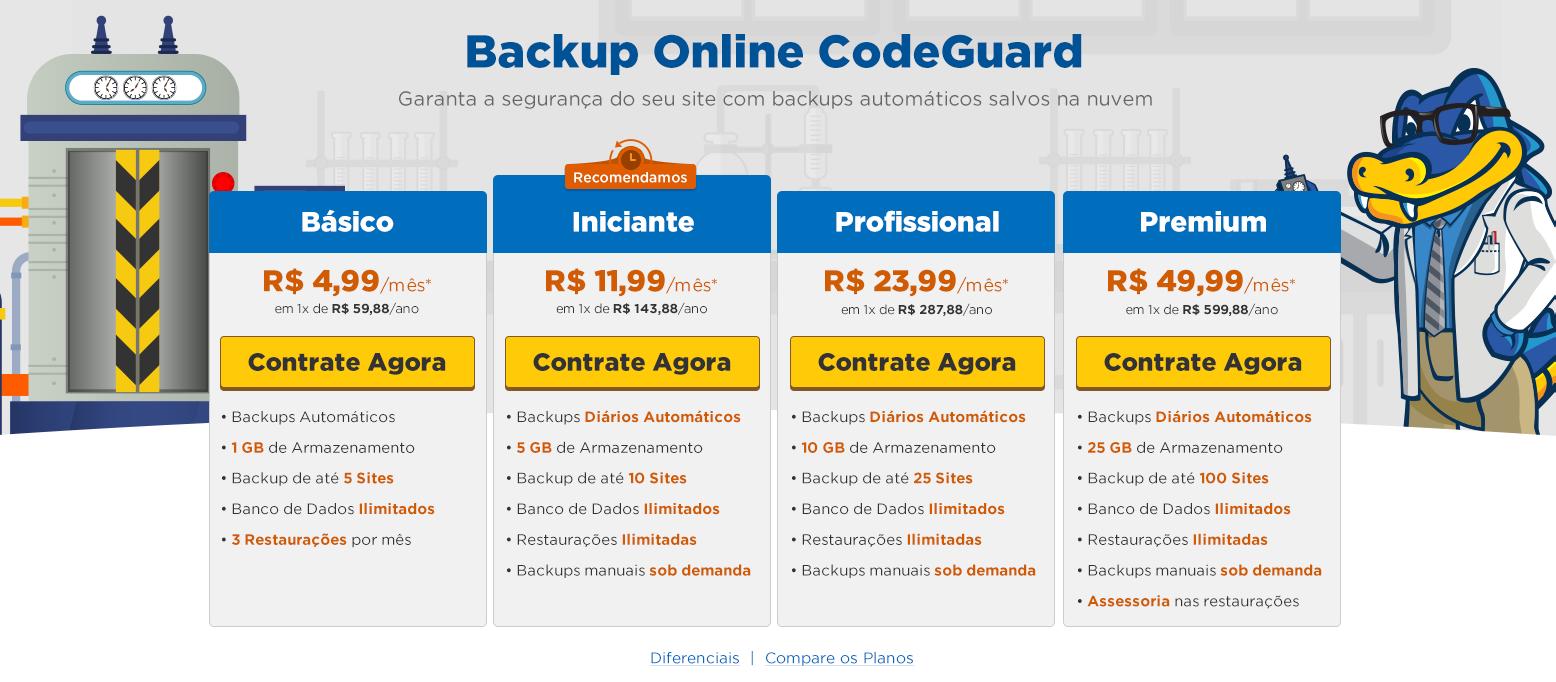 Backup Online CodeGuard - HostGator