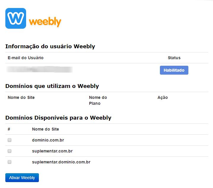 Informações Weebly cPanel