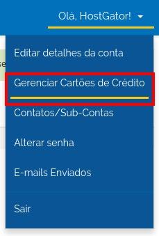 Gerenciar Cartões de Crédito - HostGator Brasil